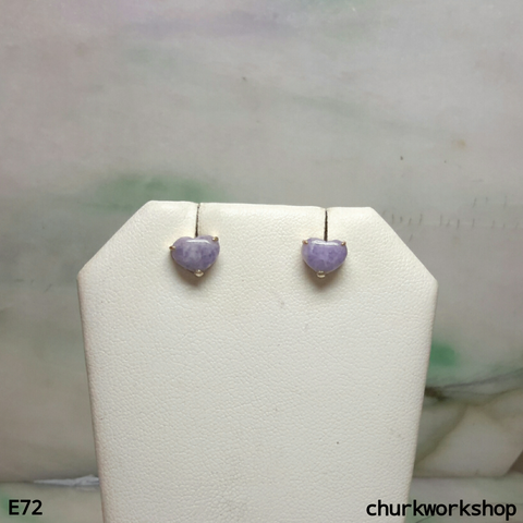 Reserved for someone special   Lavender jade heart ear studs