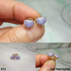 Reserved for Siang    Lavender jade heart ear studs
