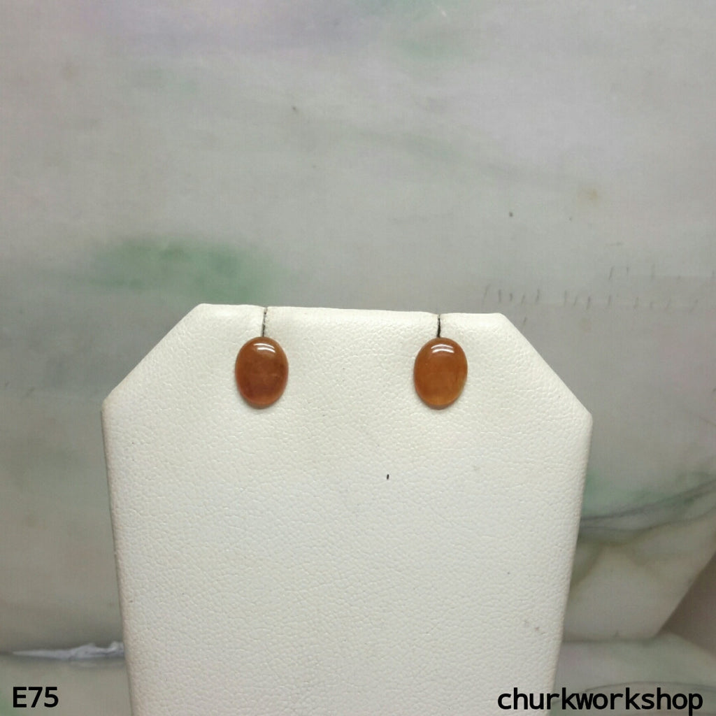 Red cabochon jade ear studs