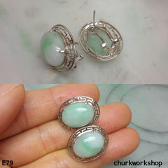 Light green jade cabochon 14K white gold ear studs