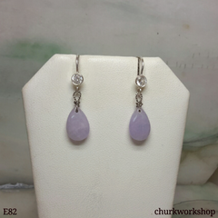 Lavender jade dangling earrings