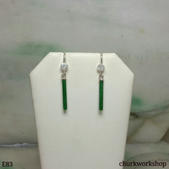 Green jade stick earrings