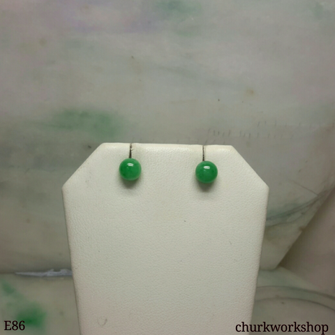 14K yellow gold green jade bead ear studs