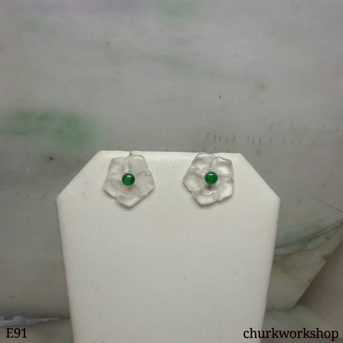 Icy jade flowers sterling silver ear studs