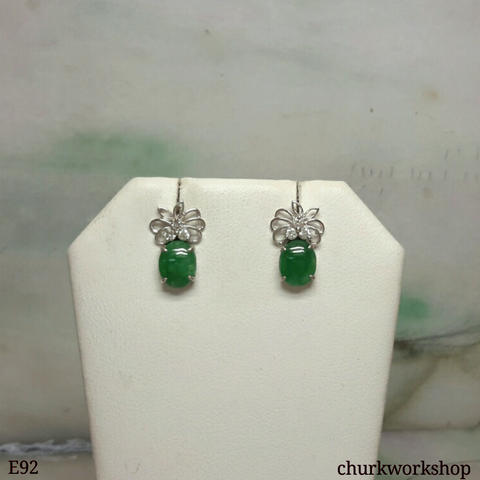 14K Oily green jade cabochon ear studs