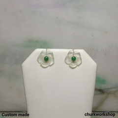 Icy jade flowers 18K ear studs