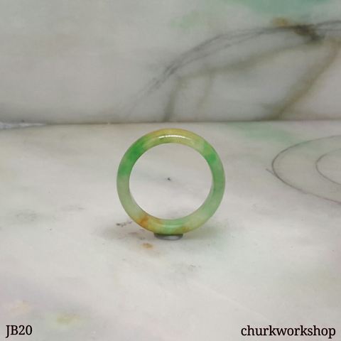 Three color pinkie jade band, unisex jade bend