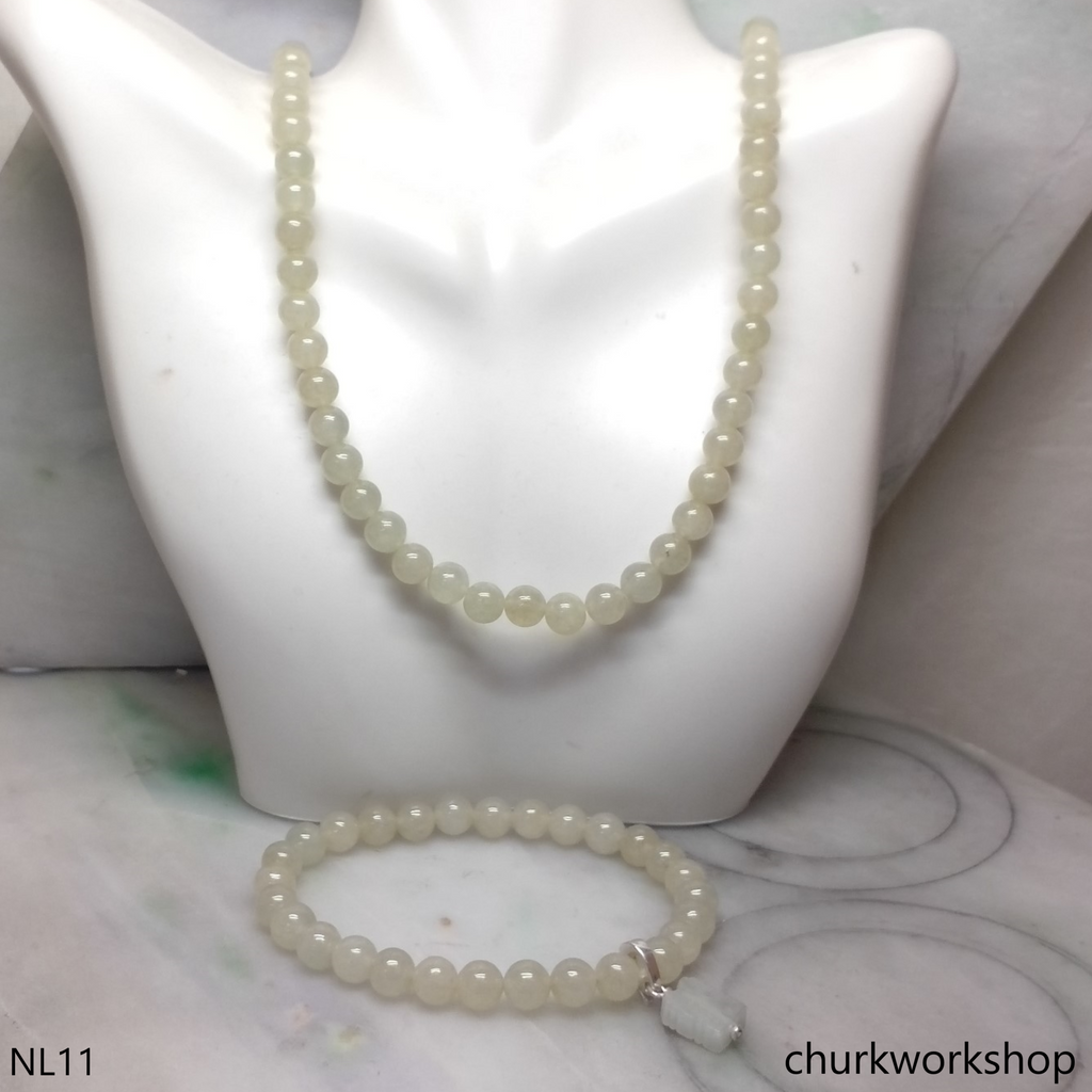 Jade beads necklace and bracelet set