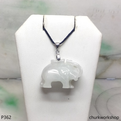White jade elephant pendant with silver bail