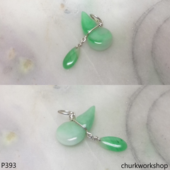 Small jade gourd sterling silver charm