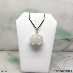 White jade pig pendant with silver bail