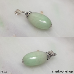 Light green long jade bead pendant