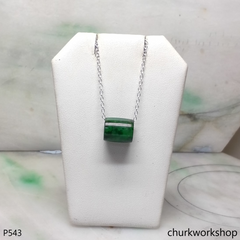 Reserved for TongLing      Dark green jade tubes necklace