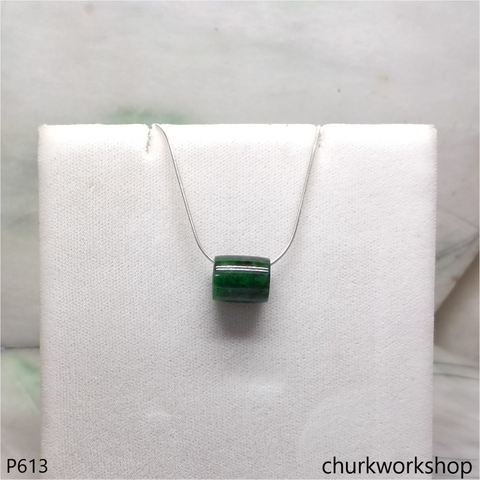 Green jade tubes necklace