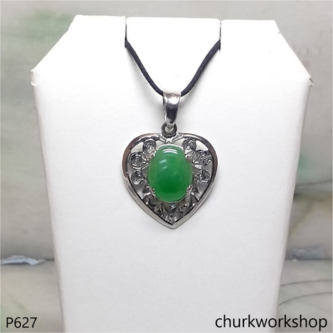 Green jade cabochon 18K white gold pendant