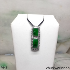 14K white gold green jade pendant