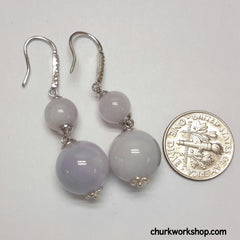 Lavender jade beads earrings