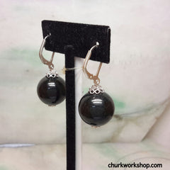 Black jade silver earrings