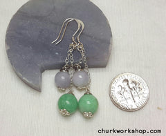 Silver jade beads earrings