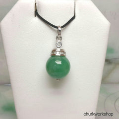 Green jade bead pendant 14k white gold with baguette diamond