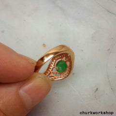Green jade ring silver plate with rose gold color