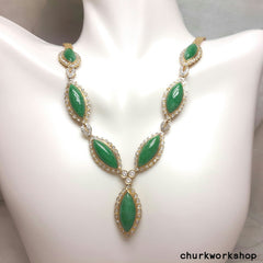 18K gold diamond jade necklace