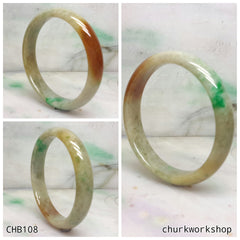 Multi color jade bangle, red & green jade bangle(Fu Lu Shou) represent lucky