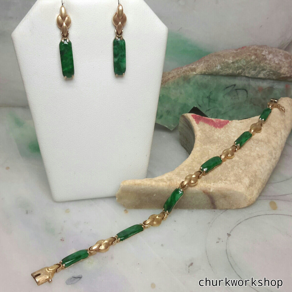 Green jade earrings, bracelet set 14k yellow gold