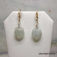 Icy jade earrings 14k gold filled