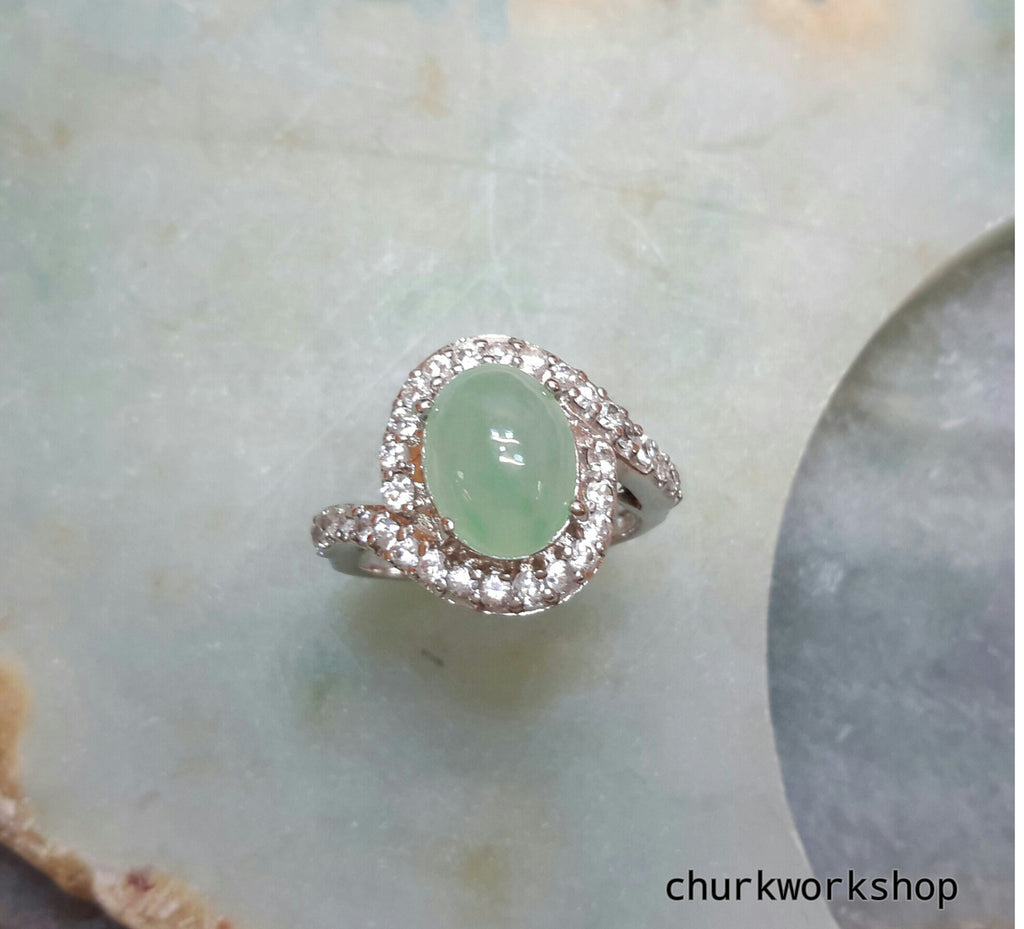 Reserved for shakey38                Light green cabochon jade ring
