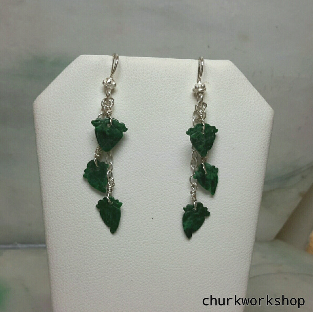 Dark green jade leaves silver earrings