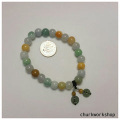 Multi-color jade beads bracelet