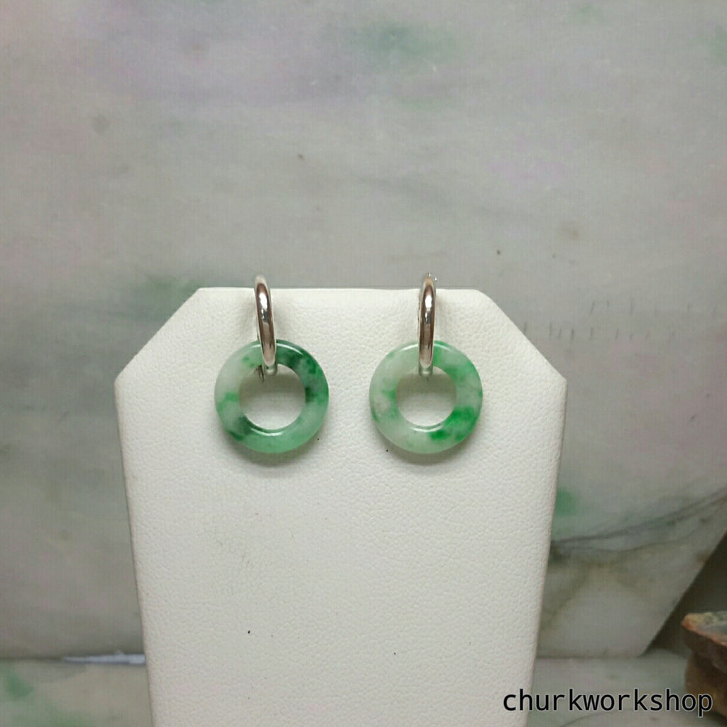 Small jade rings with silver loop earrings