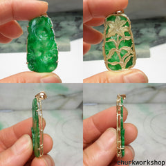 Reserved for anky9     Apple green jade Ruyi pendant in 14k gold