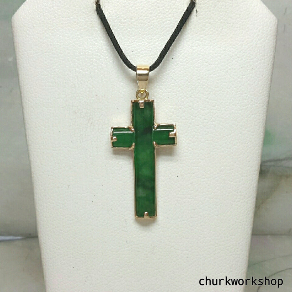 14k jade cross pendant