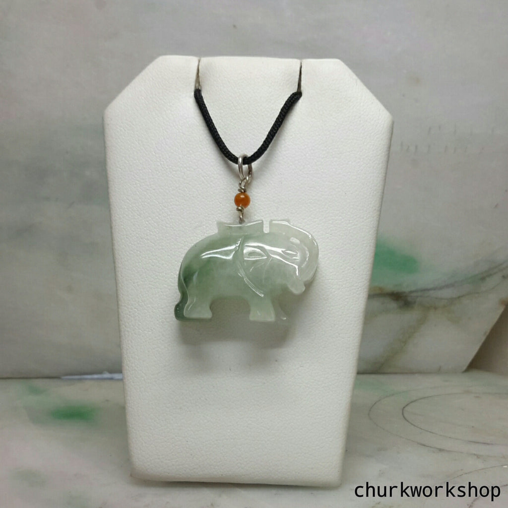 Jade elephant pendant with silver bail