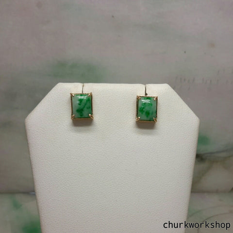 Green jade 14K yellow gold ear studs