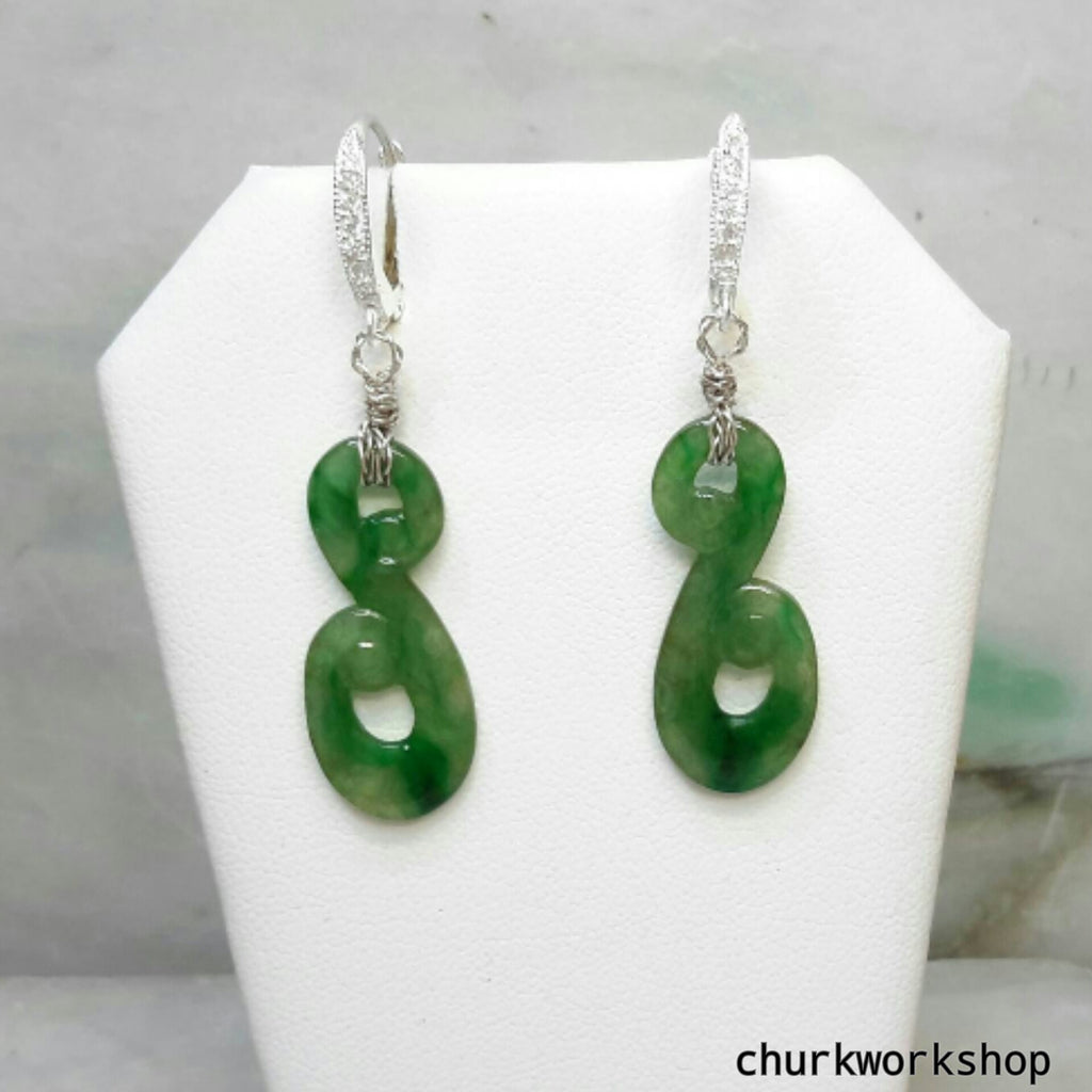 Dangling jade earrings, green jade earrings, silver jade earrings