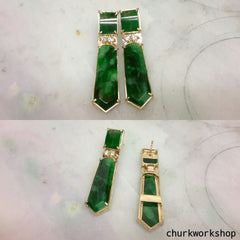 14K tie shape dangling jade earring