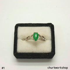 Sliver jade ring, jade ring, green color jade ring