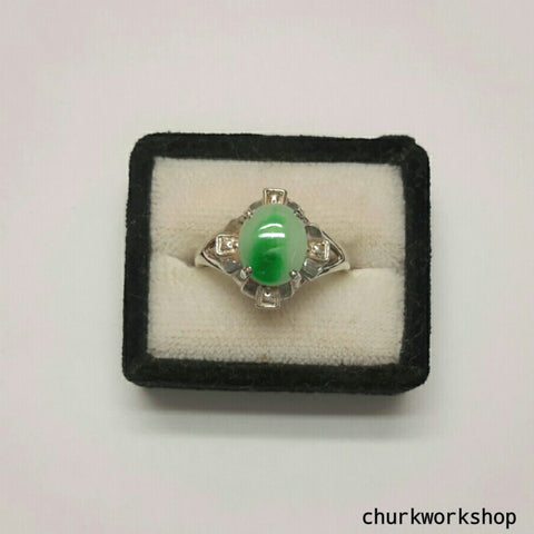 Silver jade ring, jade ring, green color jade ring