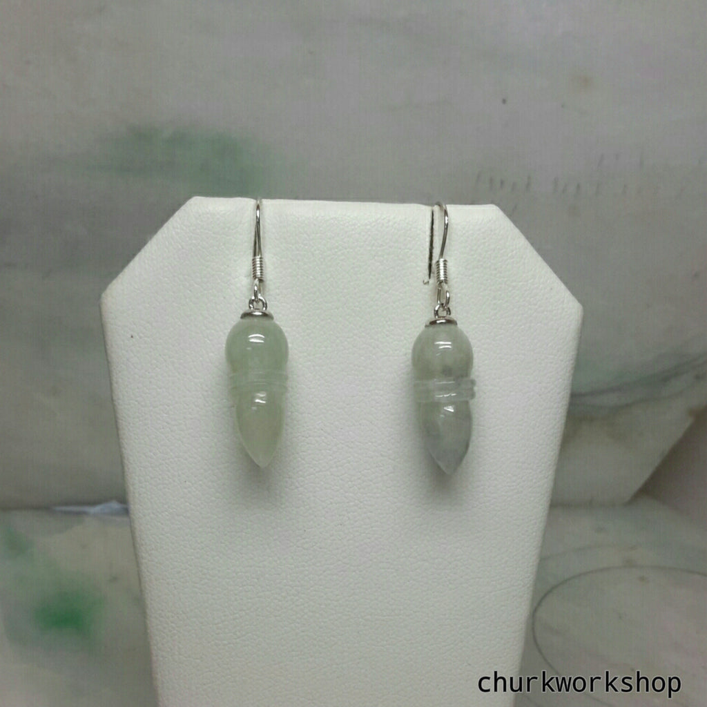 Tear drop earrings, silver jade earrings