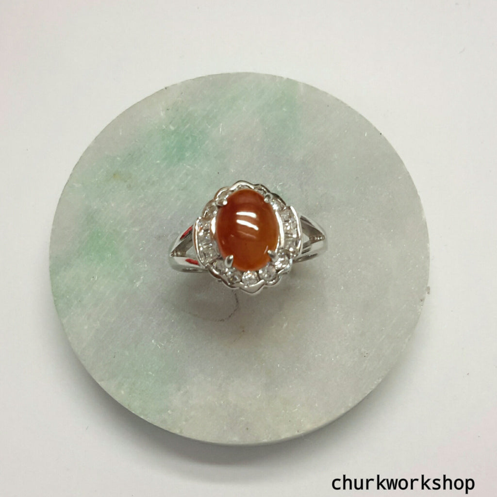 Red jade ring, silver red jade ring