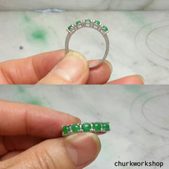 Small discs green jade ring, small jade silver ring