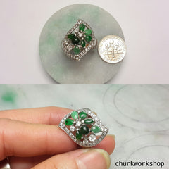 Multi-color jade cocktail ring