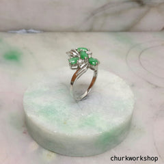 Green jade cocktail ring, small jade silver ring