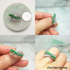 Green jade ring, small jade silver ring