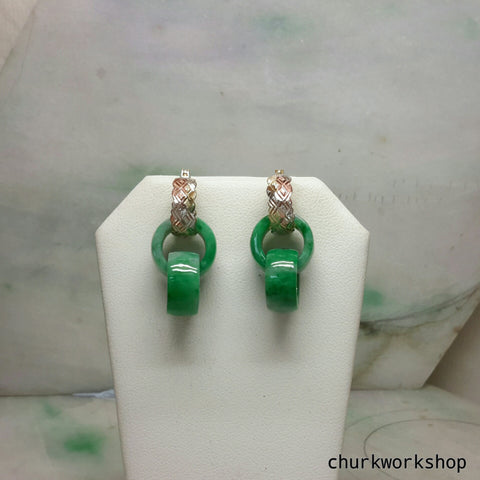 Double jade ring dangling earrings, green jade earrings