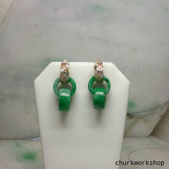 Reserved for Wendy      Double jade ring dangling earrings
