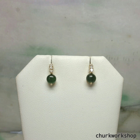 14k oily green half ball ear studs